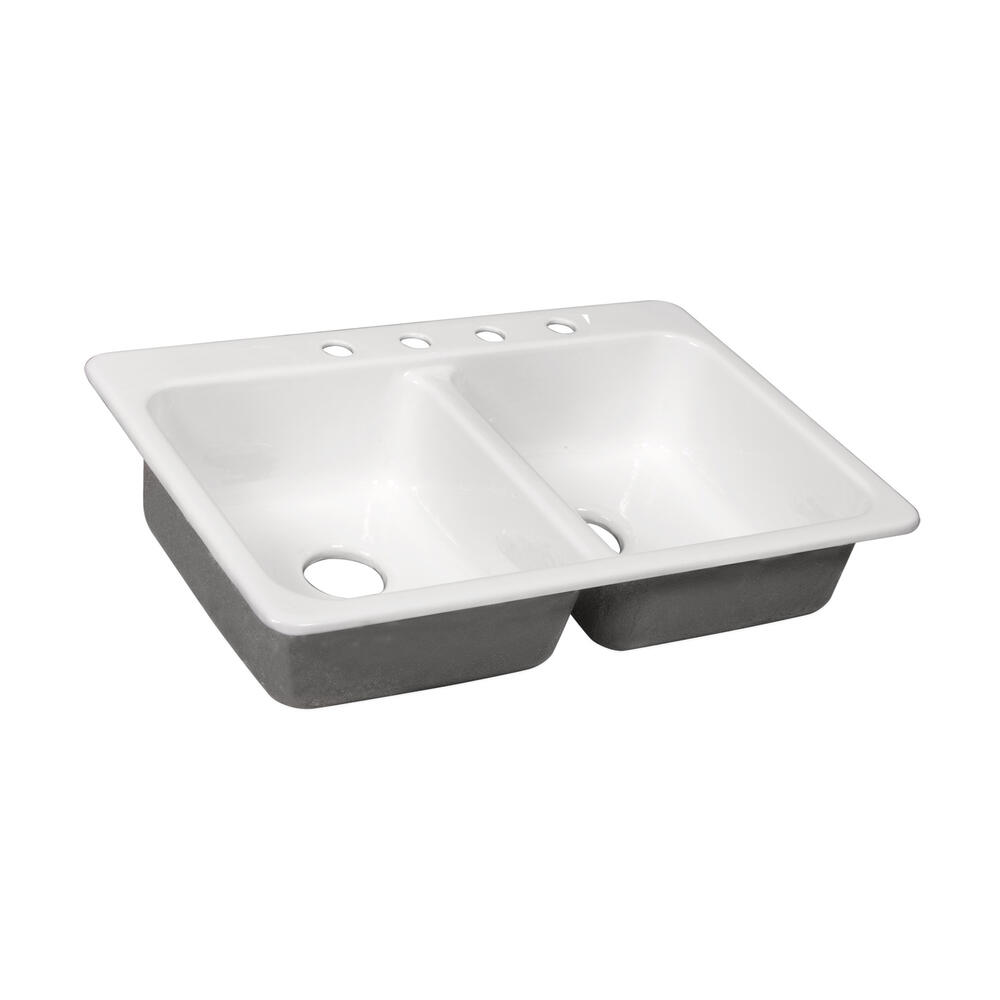Tuscany Drop In 33 Cast Iron 4 Hole Double Bowl Kitchen Sink At Menards