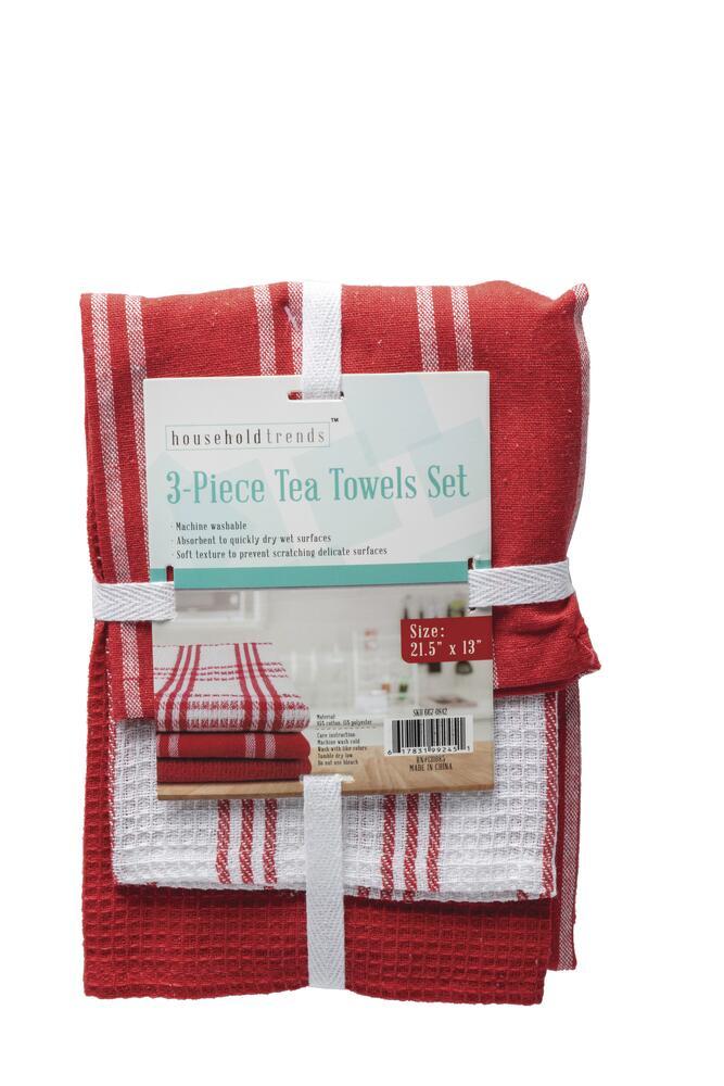 Household Trends 3 Piece Tea Towel Set Assorted At Menards