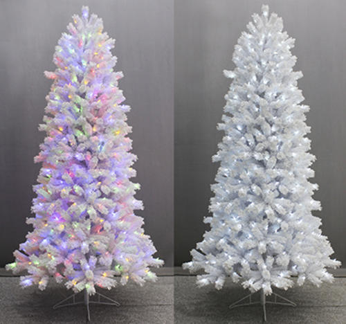 Christmas Tree Colors.Ge 7 5 Color Choice Prelit Flocked White Valley Pine