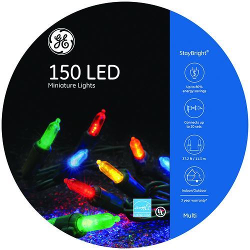 GE StayBright® 150-Light Multicolor LED Mini Christmas Light Set