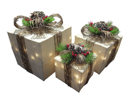 Enchanted Forest® Pre-Lit Natural Gift Boxes - 3 Count at ...
