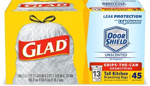Glad 13 Gallon Tall Kitchen Drawstring Trash Bags 45