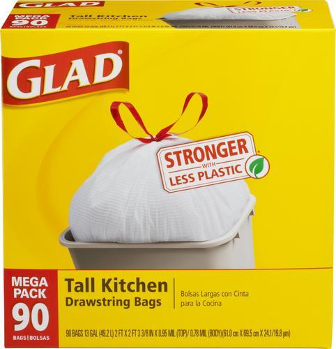 glad 13 gallon tall kitchen drawstring trash bags 90 count at rh menards com