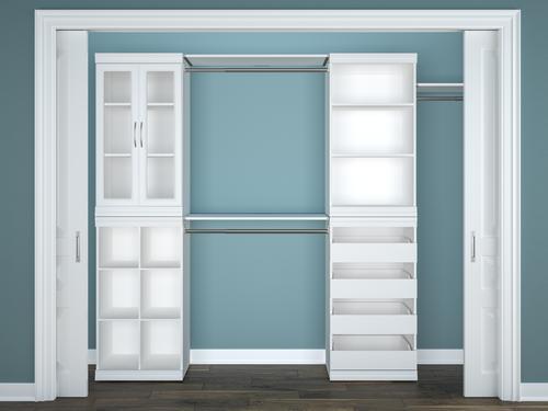 Designer S Image 114 3 4 W X 80 1 2 H Wooden Closet System At Menards
