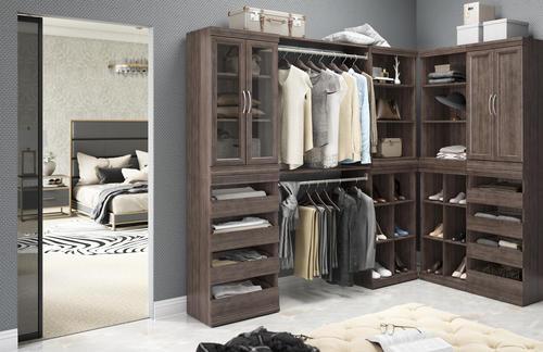 Designer S Image 58 1 2 W X 80 1 2 H X 94 1 2 D Walk In Wooden Closet System At Menards