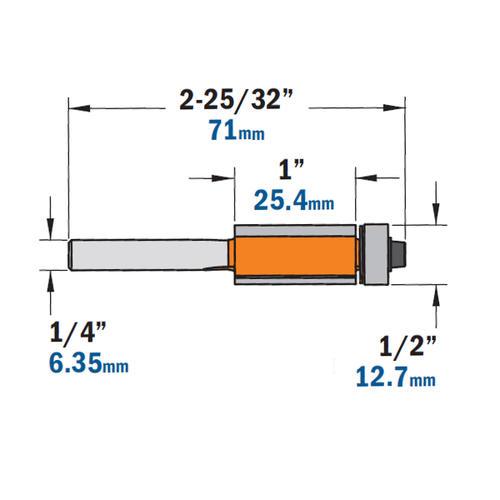 1-Inch Cutting Length 1//2-Inch Bearing CMT 806.127.11 Flush Trim Router Bit 1//4-Inch Shank 1//2-Inch Cutting Diameter
