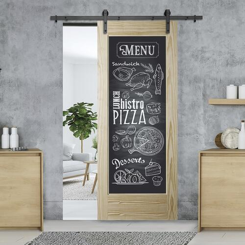 Colonial Elegance Artis Clear Pine And Black Chalk Board Interior Barn Door At Menards