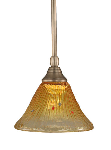 Photon 1-Light 7'' Brushed Nickel Mini-Pendant with Gold Champagne Crystal Glass