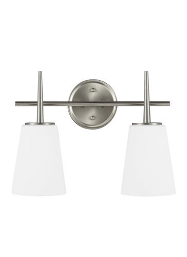 Driscoll 2 Light Brushed Nickel Bath With Cased Opal
