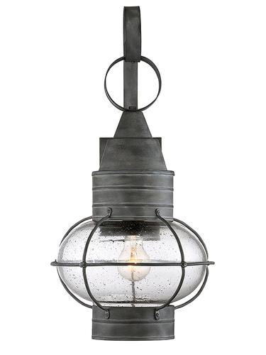 1-Light Gray Wall Lantern with Clear Seeded Glass