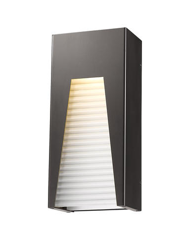 Pavao 1-Light Bronze Silver Outdoor Integrated LED Wall Mount Sconce with Frosted Ribbed Glass Shade