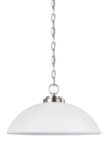 Oslo 1 Light Brushed Nickel Pendant With Etched And White Inside