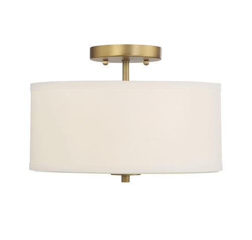 Natural Br 2 Light Semi Flush Mount With White Fabric
