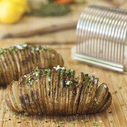 Hasselback Potato Slicer Slicing Rack Grilling Grill Wooden Dish Cutting Guide