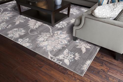 "Concord Global Lara Floral Grey Area Rug 5'3"" x 7'7"""