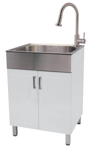 Tuscany 24 W X 21 1 4 D White Cabinet Stainless Steel Laundry Utility Sink With Faucet At Menards