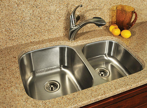 Medium image of tuscany   undermount 33   stainless steel double bowl kitchen sink at menards