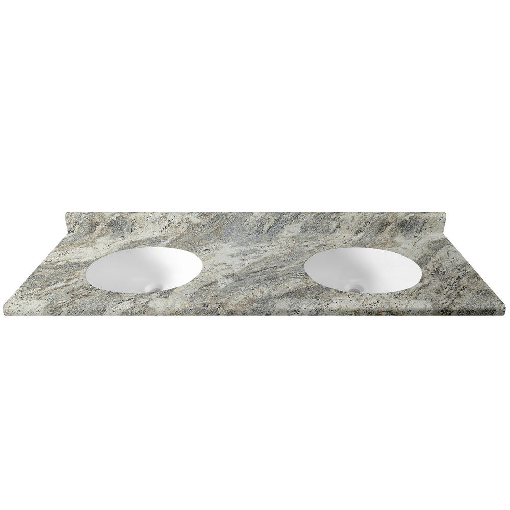 Customcraft Countertops 73 W X 22 D High Resolution Laminate Vanity Top With Double Integrated Bowls 18 1 2 From Ends At Menards