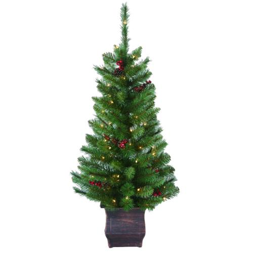 Potted Christmas Trees For Sale: Enchanted Forest® 4' Prelit Lowell Potted Artificial Tree