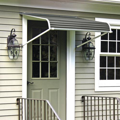 """NuImage 1100 Series 54"""" W x 60"""" Projection Graystone Aluminum Door Canopy with Support Arms"""