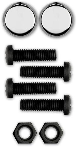 Black Nylon w//Chrome... Cruiser Accessories 80553 License Plate Frame Fasteners