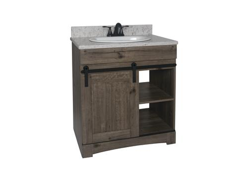 "Dakota™ 30""W x 21-3/4""D Sliding Barn Door Bathroom Vanity ..."
