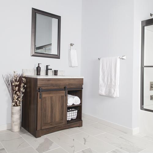 Dakota 36 W X 21 5 8 D Sliding Barn Door Bathroom Vanity Cabinet At Menards
