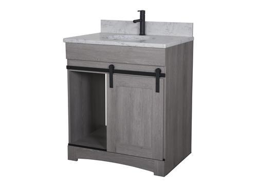 Dakota 30 W X 21 5 8 D Sliding Barn Door Bathroom Vanity Cabinet At Menards