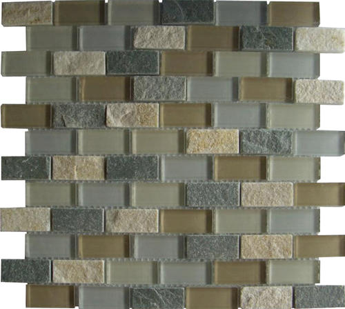 Mohawk Krystal Slate 11 1 2 X 12 1 2 Glass And Stone Mosaic Tile At Menards