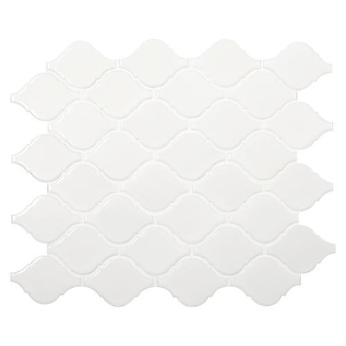 Backyard Gas Fire Pit Ideas, Mohawk Glasen Stone White 12 X 10 Arabesque Porcelain Mosaic Tile At Menards