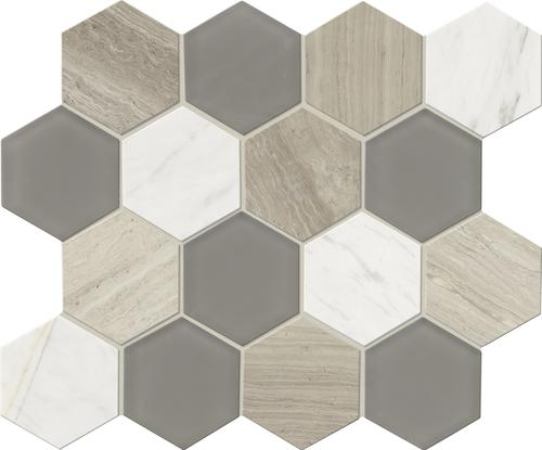 Mohawk Grand Terrace White Lace Hexagon 12 X 14 Gl And Stone Mosaic Tile