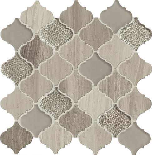Mohawk Grand Terrace Amarige 13 X 14 Arabesque Glass And Stone Mosaic Tile At Menards