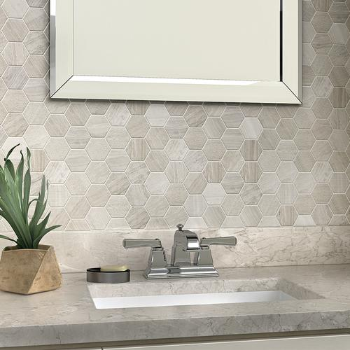 Mohawk Grand Terrace Antique Silver Hexagon 13 X Stone Mosaic Tile