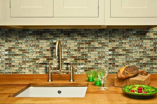 Mohawk Grand Terrace Brick Joint 12 X 12 Glass Mosaic Tile At Menards - Mosaic-tile-backsplash-model