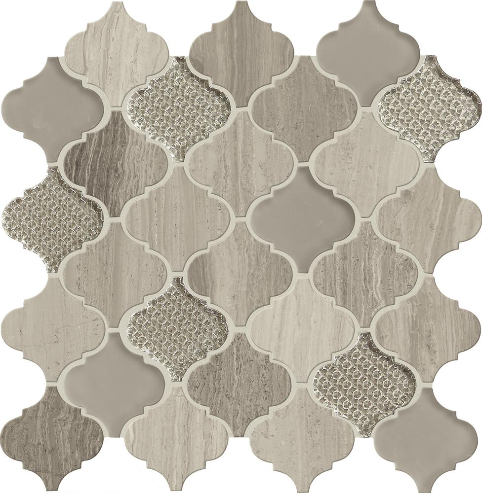 arabesque glass and stone mosaic tile