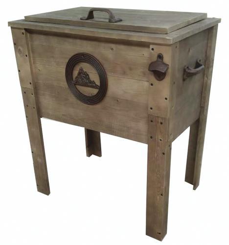 Backyard Creations 57 Qt Rustic Wooden Patio Cooler At Menards