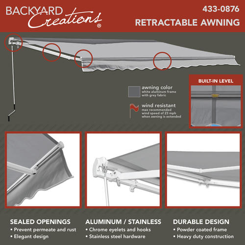 Backyard Creations® 12' W x 10' Projection Gray ...