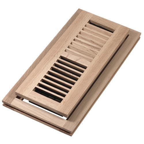 """Decor Grates® 4""""x12"""" Flushmount Floor Register Unfinished Oak"""