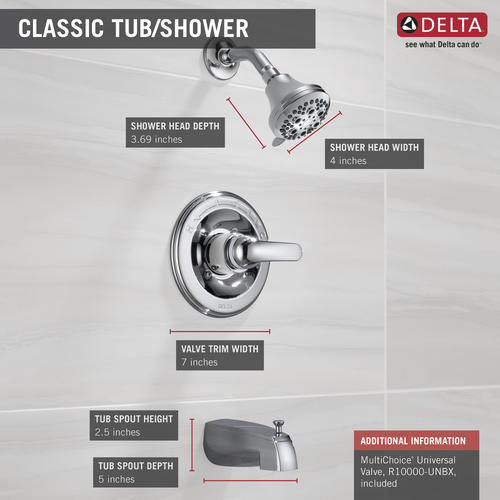 Delta Shower Valve.Delta Classic One Handle 1 Spray Tub And Shower Faucet In Chrome At