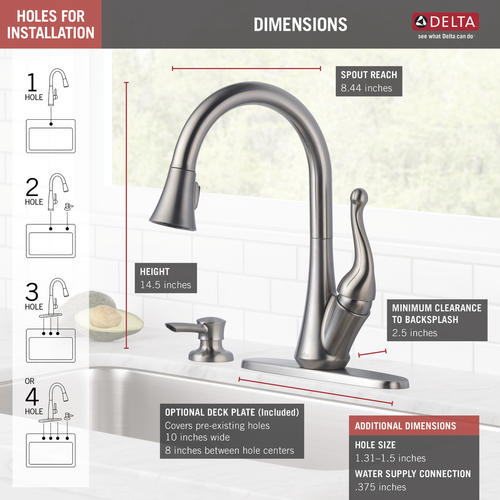 Delta® Talbott™ One-Handle Pull-Down Stainless Kitchen ...