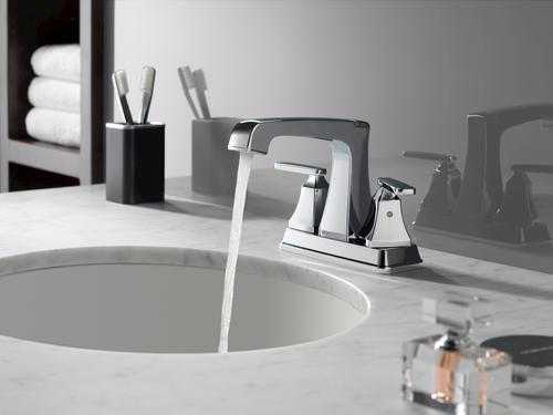 "Delta Porter 4 In Centerset 2 Handle Bathroom Faucet With: Delta® Ashlyn™ Two-Handle 4"" Centerset Bathroom Faucet At"
