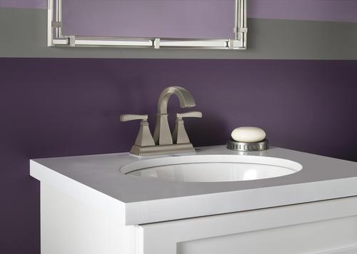 "Delta Porter 4 In Centerset 2 Handle Bathroom Faucet With: Delta® Lakewood™ Two-Handle 4"" Centerset Bathroom Faucet"
