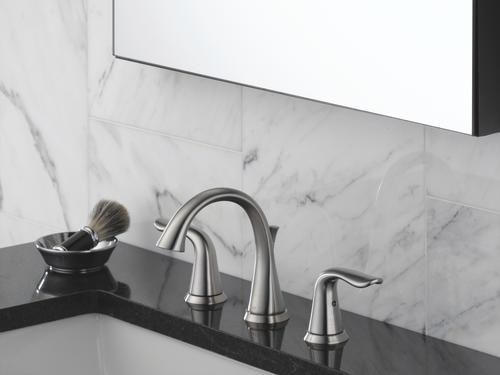 "Delta Sawyer Spotshield Brushed Nickel 2 Handle Widespread: Delta® Lahara® Two-Handle 8"" Widespread Bathroom Faucet At"