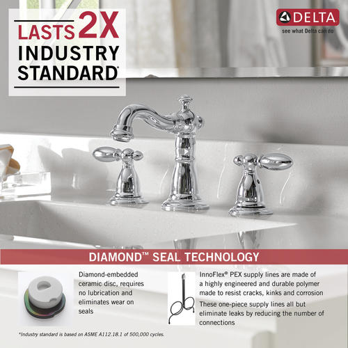 "Delta® Victorian® Two-Handle 8"" Widespread Bathroom Faucet Chrome At Menards®"