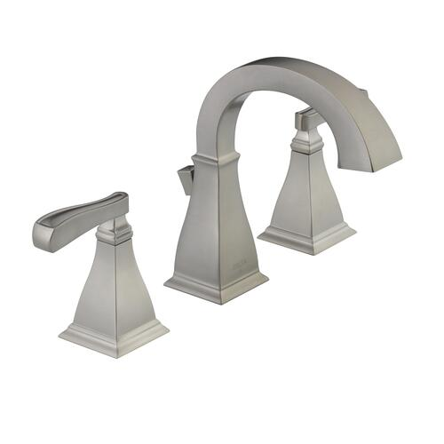 "Delta Alux Spotshield Brushed Nickel 2 Handle Widespread: Delta® Lakewood™ Two-Handle 8"" Widespread Bathroom Faucet"