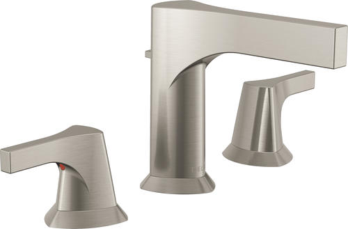 "Delta Alux Spotshield Brushed Nickel 2 Handle Widespread: Delta® Zura™ Two-Handle 8"" Widespread Bathroom Faucet With"