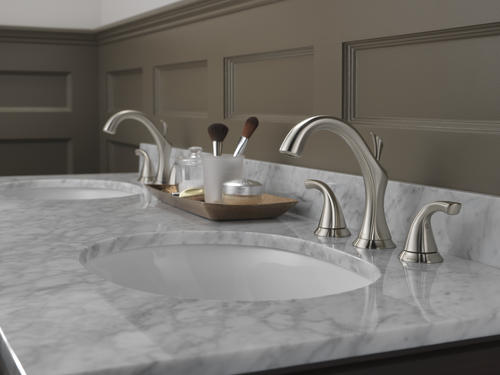 "Delta Alux Spotshield Brushed Nickel 2 Handle Widespread: Delta® Addison™ Two-Handle 8"" Widespread Bathroom Faucet"