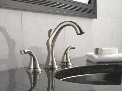 "Delta Sawyer Spotshield Brushed Nickel 2 Handle Widespread: Delta® Addison™ Two-Handle 8"" Widespread Bathroom Faucet"