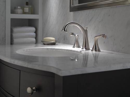 "Delta Alux Spotshield Brushed Nickel 2 Handle Widespread: Delta® Carlisle™ Two-Handle 8"" Widespread Bathroom Faucet"