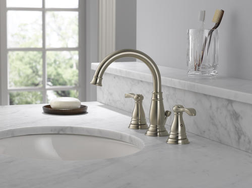 "Delta Alux Spotshield Brushed Nickel 2 Handle Widespread: Delta® Porter® Two-Handle 8"" Widespread Bathroom Faucet At"
